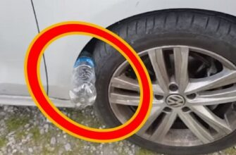 Бутылка в колесе машины