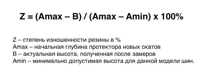 Как определить процент износа шин